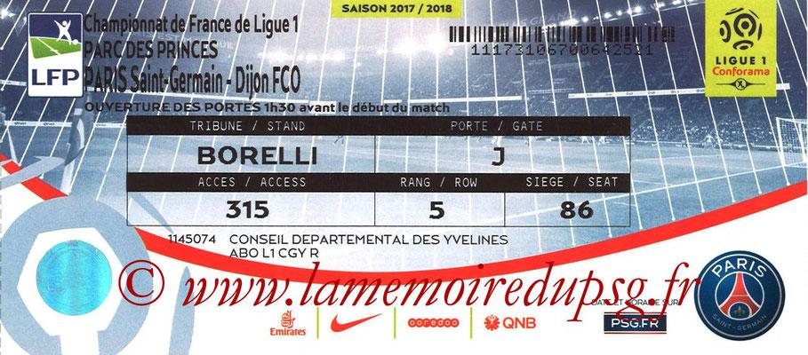 Tickets  PSG-Dijon  2017-18