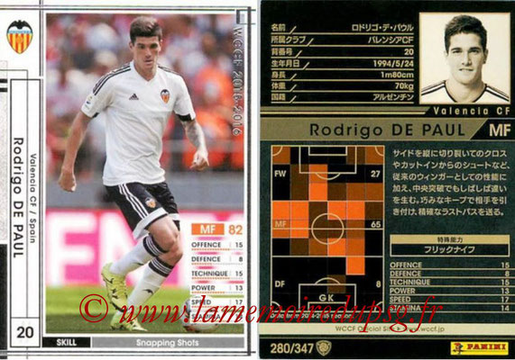 2015-16 - Panini WCCF - N° 280 - Rodrigo DE PAUL (Valencia CF)