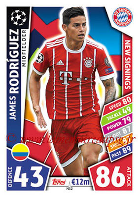 2017-18 - Topps UEFA Champions League Match Attax - N° NS02 - James RODRIGUEZ (FC Bayern Munich) (New Signings)