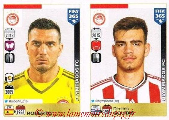 2015-16 - Panini FIFA 365 Stickers - N° 522-523 - ROBERTO + Dimitris GOUTAS (Olympiacos FC)