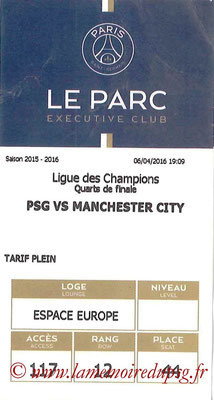 Tickets  PSG-Manchester City  2015-16