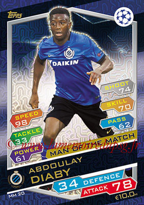 2016-17 - Topps UEFA Champions League Match Attax - N° MM20 - Abdoulay DIABY (Club Brugge KV) (Man of the Match)