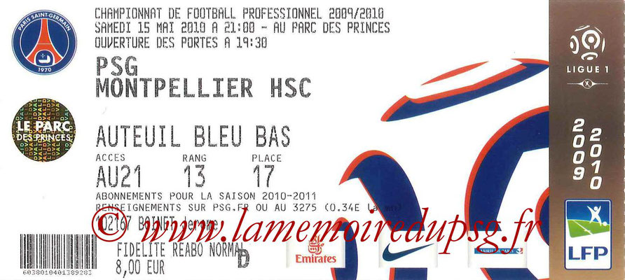 Tickets  PSG-Montpellier  2009-10
