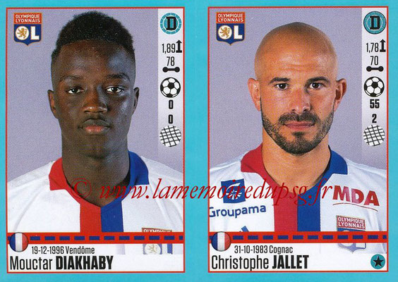 2016-17 - Panini Ligue 1 Stickers - N° 358 + 359 - Mouctar DIAKHABY + Christophe JALLET (Lyon)