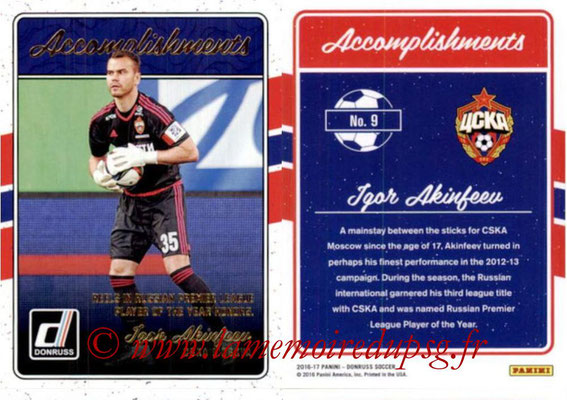 2016 - Panini Donruss Cards - N° A09 - Igor AKINFEEV (CSKA Moscou) (Accomplishments)