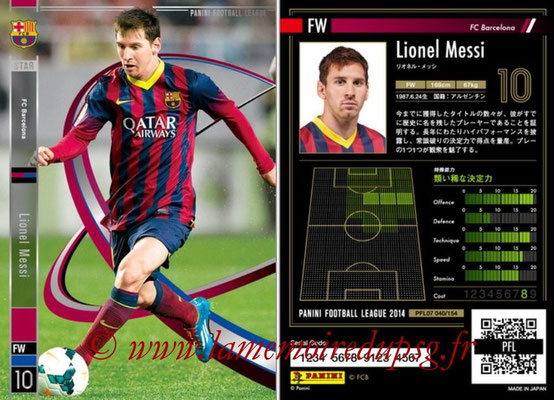 Panini Football League 2014 - PFL07 - N° 040 - Lionel MESSI (FC Barcelone) (Star)