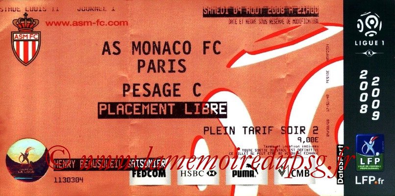 Tickets  Monaco-PSG  2008-09