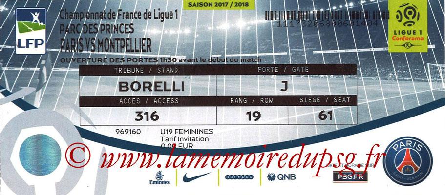 Tickets  PSG-Montpellier  2017-18