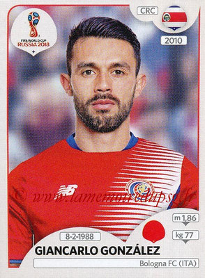 2018 - Panini FIFA World Cup Russia Stickers - N° 395 - Giancarlo GONZALEZ (Costa Rica)