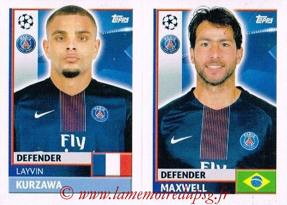 2016-17 - Topps UEFA Champions League Stickers - N° PSG 6-7 - MAXWELL + Layvin KURZAWA (Paris Saint-Germain)