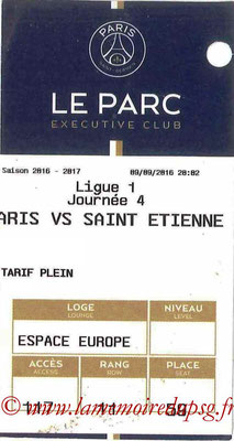 Tickets  PSG-Saint Etienne  2016-17