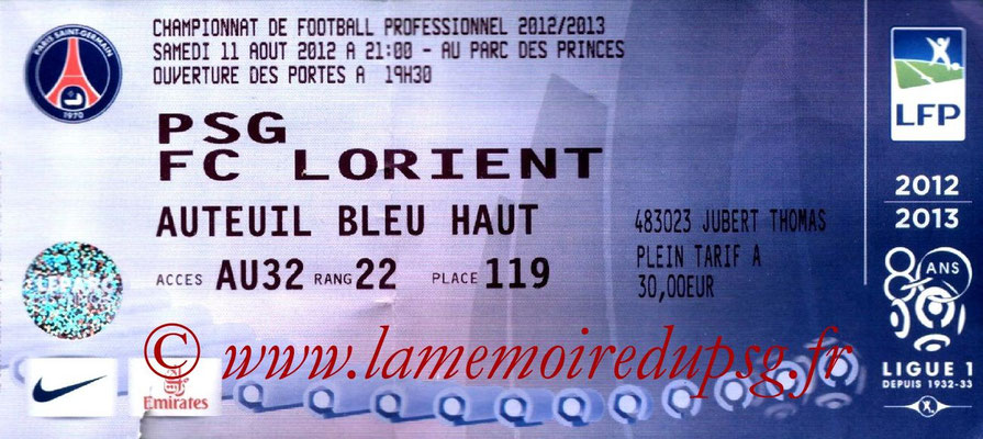 Tickets  PSG-Lorient  2012-13