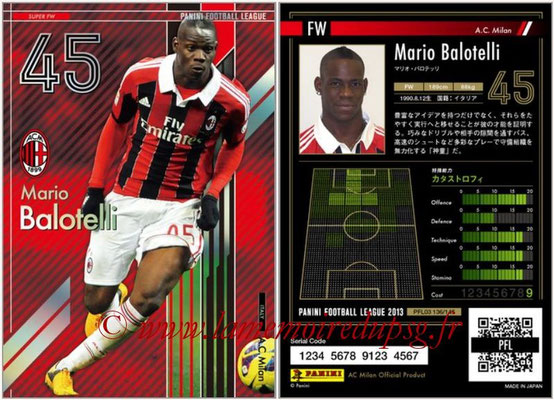 Panini Football League 2013 - PFL03 - N° 136 - Mario Balotelli (Milan AC) (Super FW)