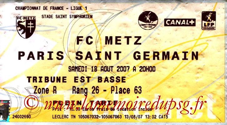 Tickets  Metz-PSG  2007-08
