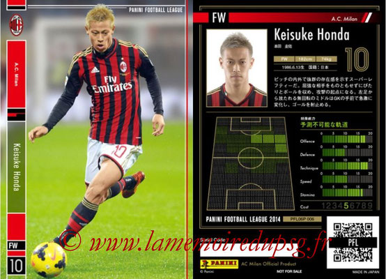 Panini Football League 2014 - PFL06P - N° 006 - Keisuke HONDA (Milan AC)
