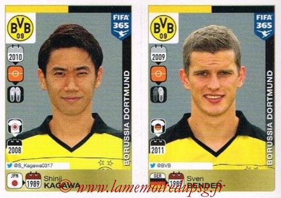2015-16 - Panini FIFA 365 Stickers - N° 500-501 - Shinji KAGAWA + Sven BENDER (Borussia Dortmund)