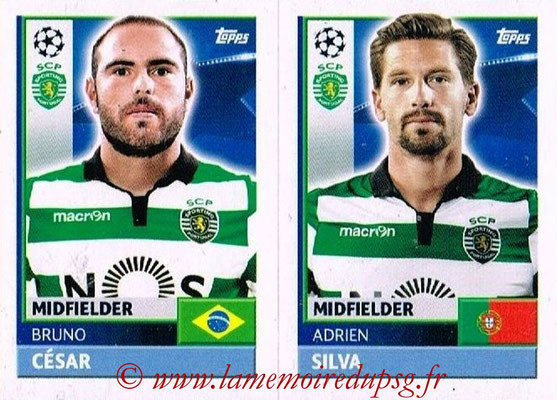 2016-17 - Topps UEFA Champions League Stickers - N° SPO 14-15 - Adrien SILVA + Bruno CESAR (Sporting CP)