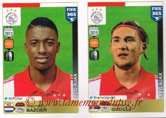 2015-16 - Panini FIFA 365 Stickers - N° 663-664 - Riechedly BAZOER + Nemanja GUDELJ (AFC Ajax)