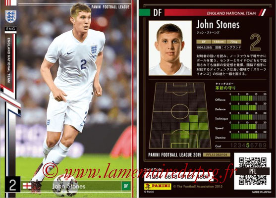 Panini Football League 2015 - PFL12 - N° 082 - John STONES (Angleterre)