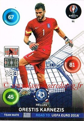 Panini Road to Euro 2016 Cards - N° 091 - Orestis KARNEZIS (Grèce)