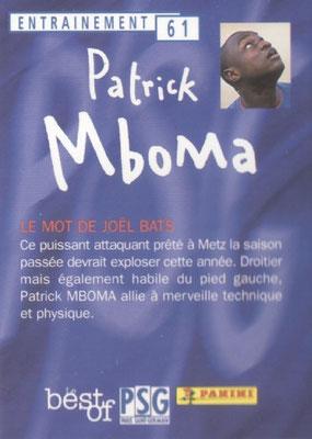 N° 061 - Patrick M'BOMA (Verso)