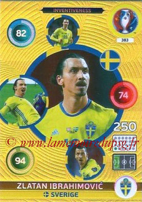 Panini Euro 2016 Cards - N° 383 - Zlatan IBRAHIMOVIC (2012-??, PSG > 2016, Suède) (Inventiveness)