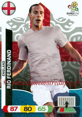 Panini Euro 2012 Cards Adrenalyn XL - N° 044 - Rio FERDINAND (Angleterre)