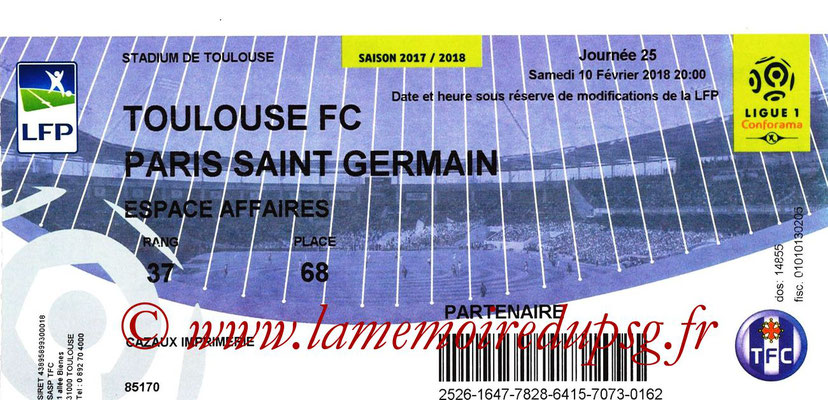 Tickets  Toulouse-PSG  2017-18