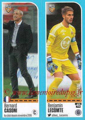 2016-17 - Panini Ligue 1 Stickers - N° 302 + 303 - Bernard CASONI + Benjamin LECOMTE (Lorient)