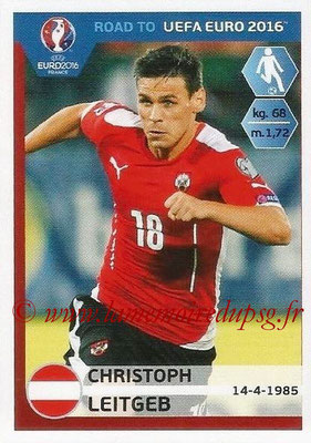 Panini Road to Euro 2016 Stickers - N° 203 - Christoph LEITGEB (Autriche)
