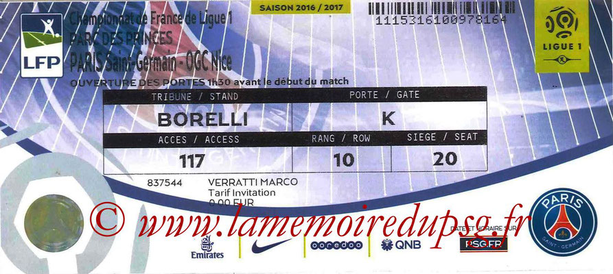 Tickets  PSG-Nice  2016-17