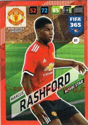 2017-18 - Panini FIFA 365 Cards - N° 081 - Marcus RASHFORD (Manchester United) (Rising Star)