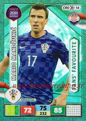 2018 - Panini Road to FIFA World Cup Russia Adrenalyn XL - N° CRO14 - Mario MANDZUKIC (Croatie) (Fans' Favourite)