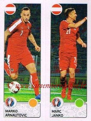 Panini Euro 2016 Stickers - N° 654 - Marko ARNAUTOVIC + Marc JANKO (Autriche)