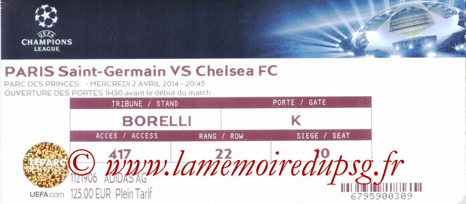 Tickets  PSG-Chelsea  2013-14