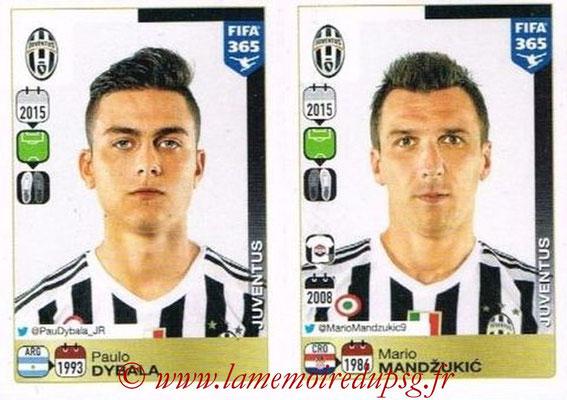 2015-16 - Panini FIFA 365 Stickers - N° 577-578 - Paulo DYBALA + Mario MANDZUKIC (Juventus FC)