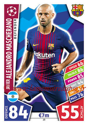 2017-18 - Topps UEFA Champions League Match Attax - N° 023 - Javier Alejandro MASCHERANO (FC Barcelone)
