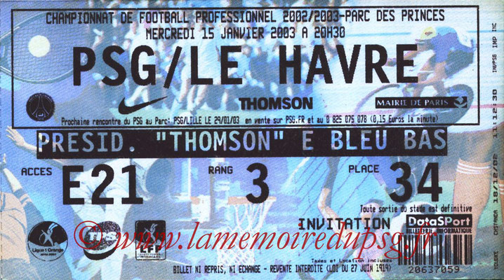 Tickets  PSG-Le Havre  2002-03
