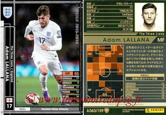 2015-16 - Panini WCCF - N° A063 - Adam LALLANA (Angleterre)