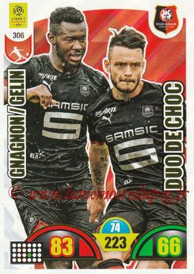 2018-19 - Panini Adrenalyn XL Ligue 1 - N° 306 - Jérémy GELIN + Joris GNAGNON (Rennes) (Duo de Choc)