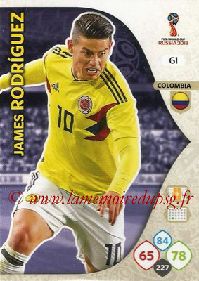 2018 - Panini FIFA World Cup Russia Adrenalyn XL - N° 061 - James RODRIGUEZ (Colombie)