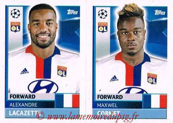 2016-17 - Topps UEFA Champions League Stickers - N° LYO 18-19 - Maxwell CORNET + Alexandre LACAZETTE (Olympique Lyonnais)