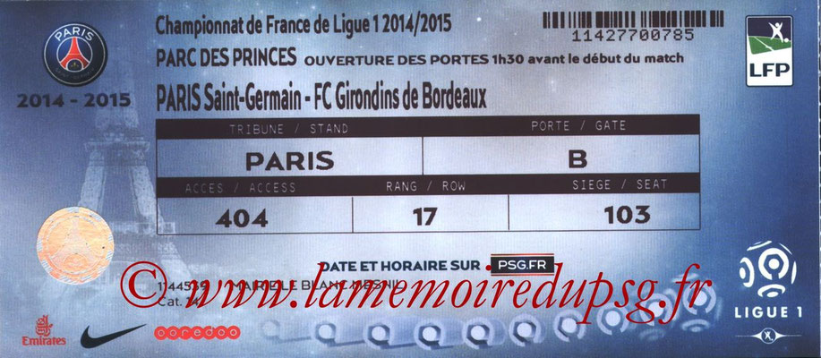 Tickets  PSG-Bordeaux  2014-15