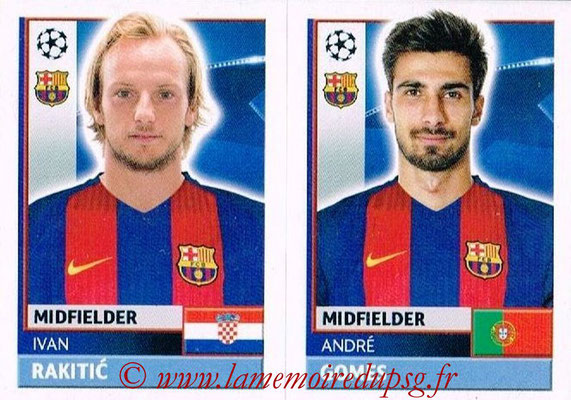 2016-17 - Topps UEFA Champions League Stickers - N° FCB 12-13 - Andre GOMES + Ivan RAKITIC (FC Barcelone)