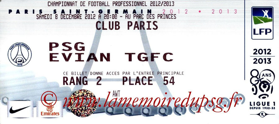 Tickets  PSG-Evian  2012-13