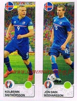 Panini Euro 2016 Stickers - N° 608 - Kolbeinn SIGTHORSSON + Jon Dadi BODVARSSON (Islande)