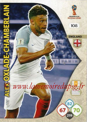 2018 - Panini FIFA World Cup Russia Adrenalyn XL - N° 108 - Alex OXLADE-CHAMBERLAIN (Angleterre)