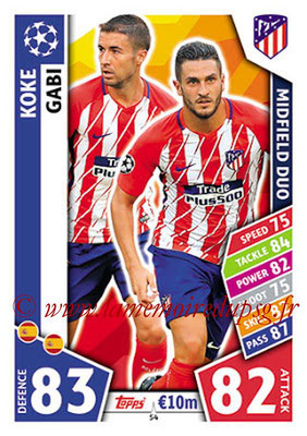 2017-18 - Topps UEFA Champions League Match Attax - N° 054 - KOKE + GABI (Club Atletico de Madrid) (Midfield Duo)