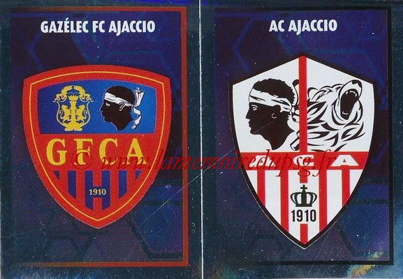 2017-18 - Panini Ligue 1 Stickers - N° 541 - Ecussons AC Ajaccio + Gazelec Ajaccio
