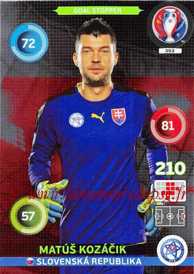 Panini Euro 2016 Cards - N° 353 - Matus KOZACIK (Slovenie) (Goal Stopper)